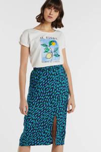 Garcia T-shirt met printopdruk wit/lichtblauw, Wit/lichtblauw