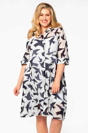 blousejurk met all over print wit/zwart