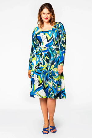 jurk met all over print en ceintuur  multi