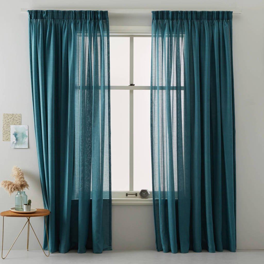Wehkamp Home vitrage kant en klaar transparant gordijn (per stuk) (150 x 310 cm), Petrol blauw