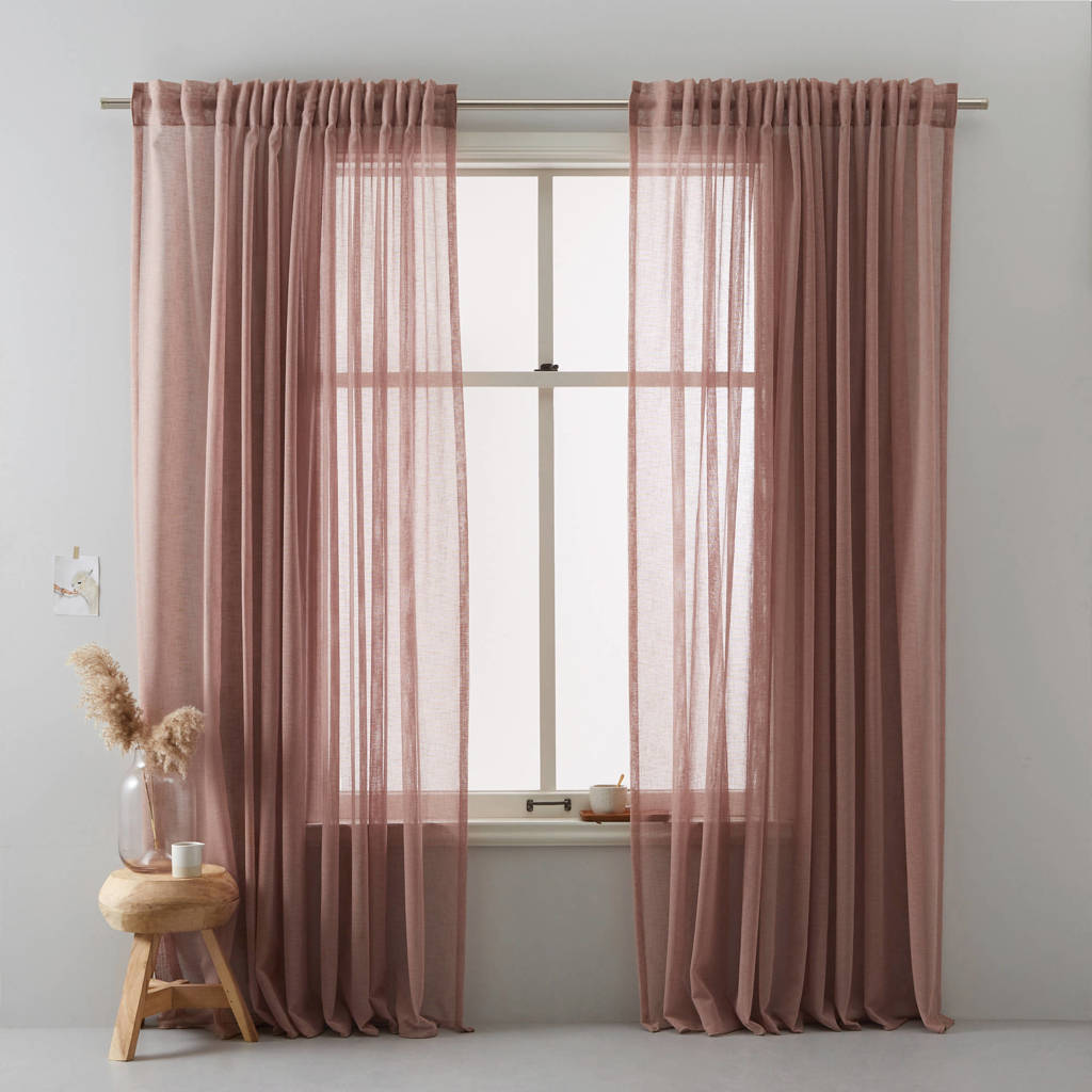wehkamp home transparant gordijn (per stuk) (300x295 cm), Oud roze