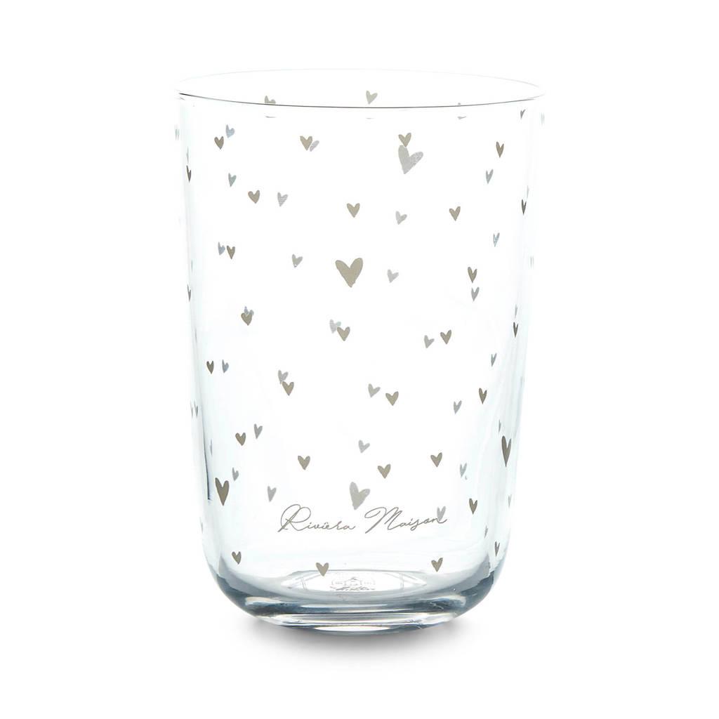 Riviera Maison waterglas Lovely Hearts (Ø8,5 cm), Transparant