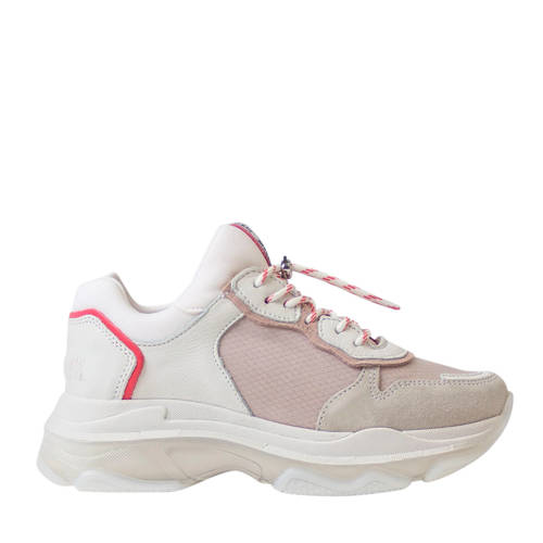 Bronx Baisley leren chunky sneakers wit/roze