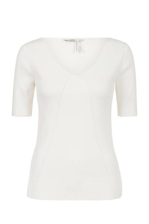 fijngebreid T-shirt wit