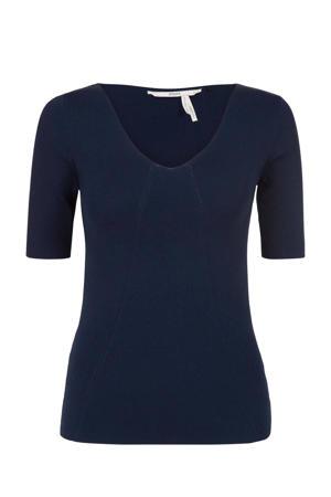 fijngebreid T-shirt donkerblauw