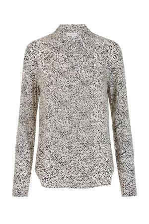 blouse met all over print ecru/zwart