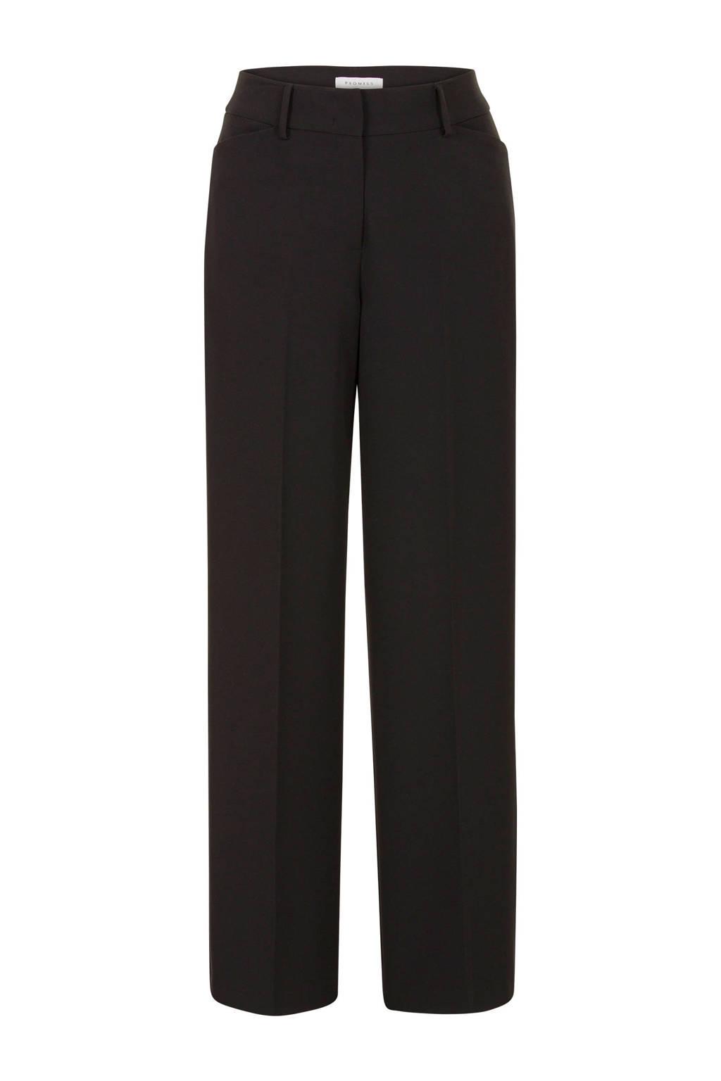 PROMISS high waist loose fit pantalon zwart, Zwart