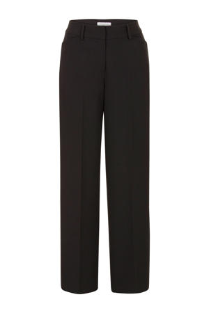 high waist loose fit pantalon zwart