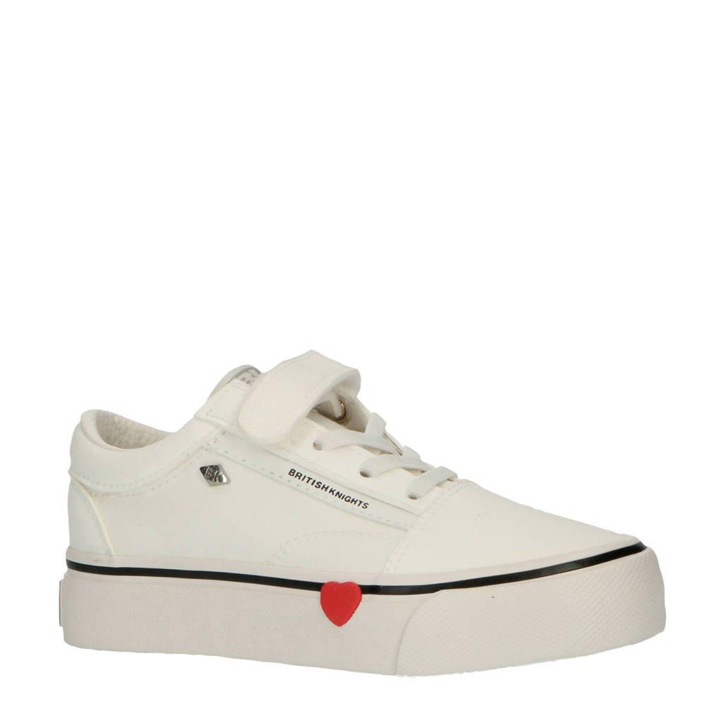 British Knights Mack Platform  sneakers wit met rood hartje, Wit/rood