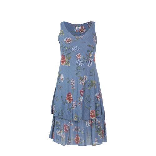Paprika gebloemde jurk blauw