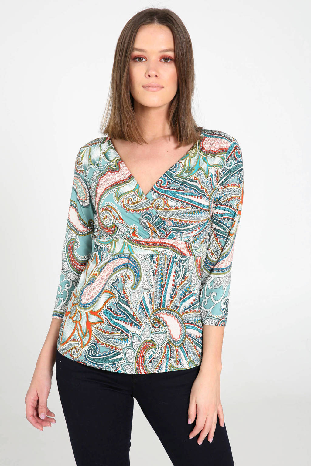 Cassis T-shirt met all over print mintgroen, Mintgroen