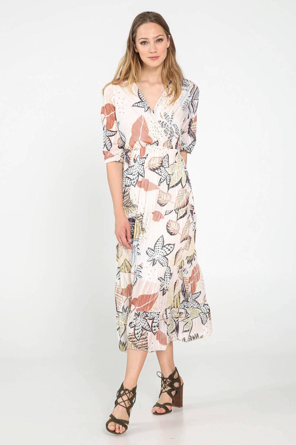 Cassis maxi jurk met all over print en plooien ecru/roze/blauw, Ecru/roze/blauw