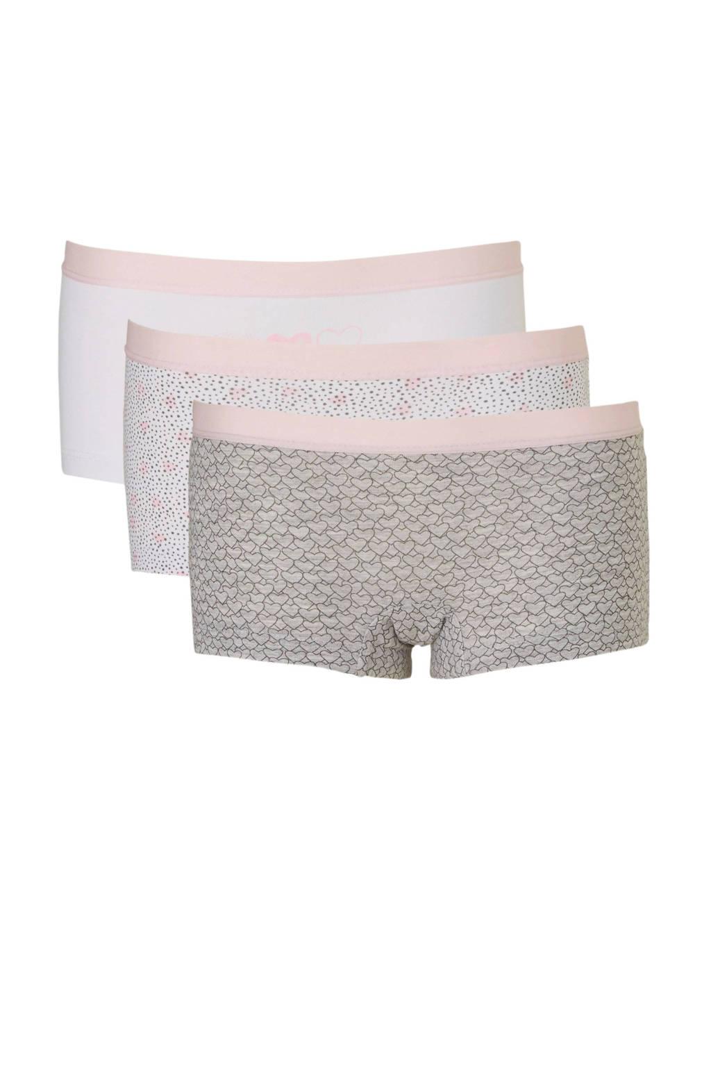 C&A Here & There boxershort lichtgrijs/lichtroze/wit - set van 3, lichtgrijs/roze/wit