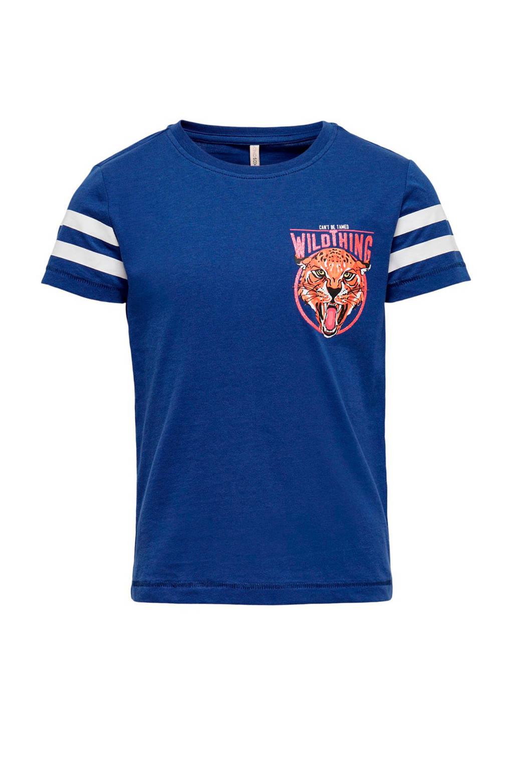 KIDS ONLY T-shirt Lovina met printopdruk en glitters blauw/wit/roze, Blauw/wit/roze