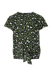 KIDS ONLY T-shirt Danielle met panterprint olijfgroen/wit/zwart, Olijfgroen/wit/zwart