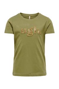 KIDS ONLY T-shirt Julia met tekst en 3D applicatie olijfgroen, Olijfgroen