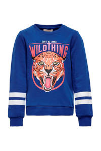 KIDS ONLY hoodie Lovina met printopdruk en glitters blauw/roze/wit, Blauw/roze/wit