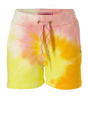 tie-dyesweatshort geel/lichtroze/wit