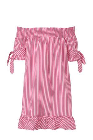 gestreepte off shoulder jurk roze/wit