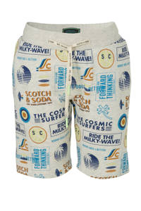 Scotch & Soda sweatshort met all over print ecru/blauw/geel, Ecru/blauw/geel