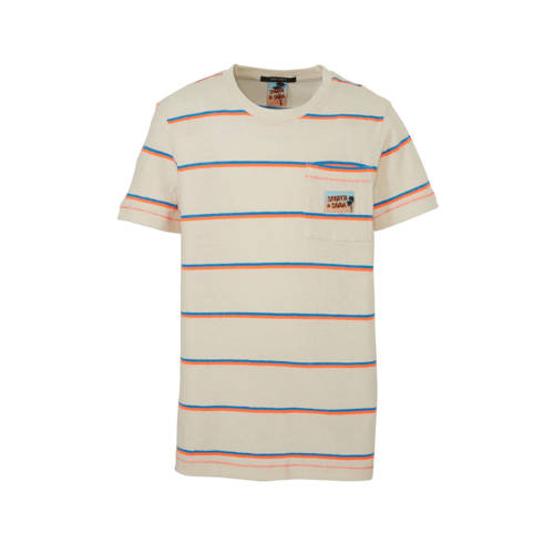 Scotch & Soda gestreept T-shirt beige/oranje/b
