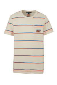 Scotch & Soda gestreept T-shirt beige/oranje/blauw