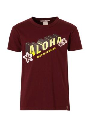T-shirt met tekst donkerrood/geel
