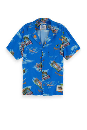 overhemd met all over print blauw/multi