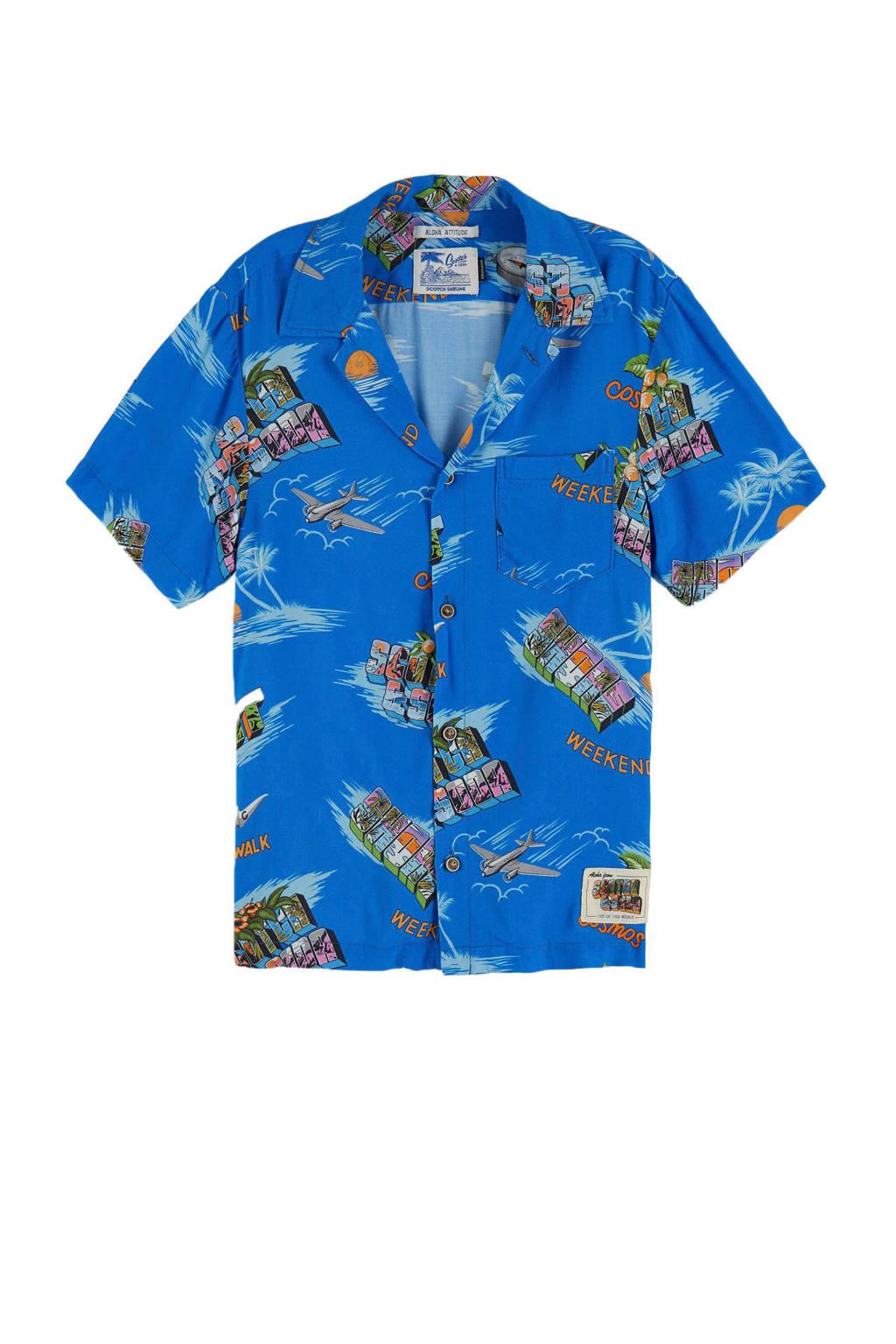 Scotch & Soda overhemd met all over print blauw/multi, Blauw/multi