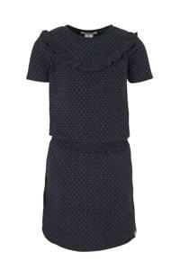 Scotch & Soda jersey jurk met stippen en ruches donkerblauw/wit, Donkerblauw/wit