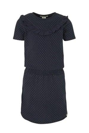 jersey jurk met stippen en ruches donkerblauw/wit