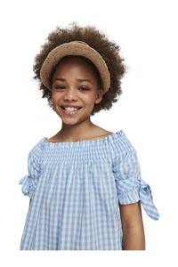 Scotch & Soda geruite off shoulder A-lijn jurk lichtblauw/wit, Lichtblauw/wit