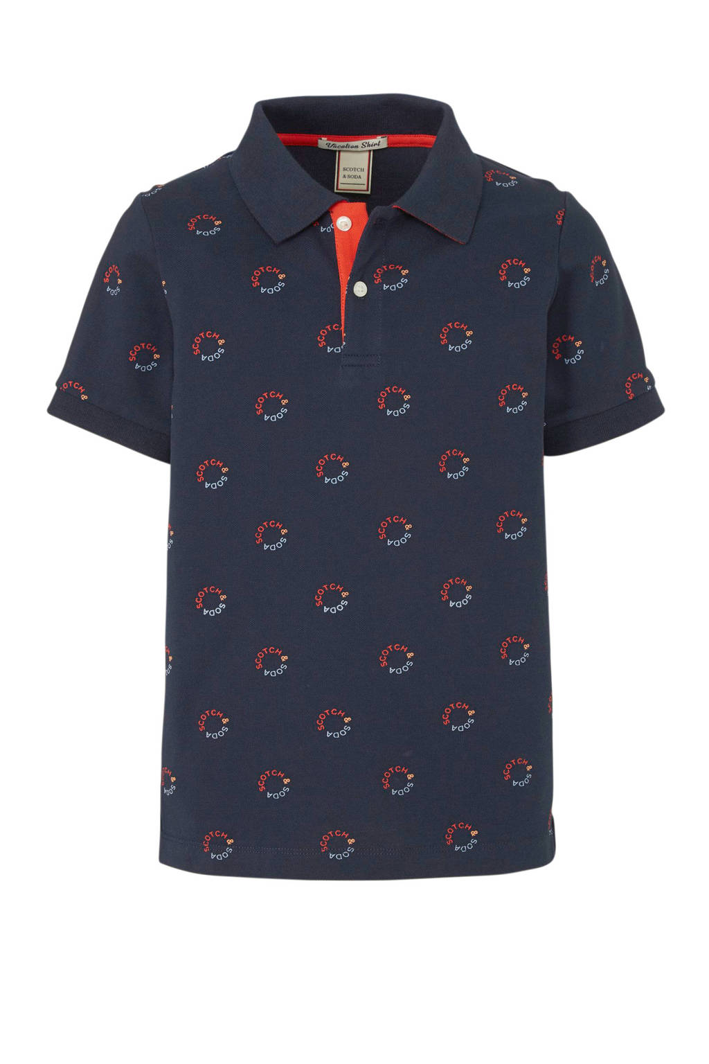 Scotch & Soda polo met all over print donkerblauw/rood/lichtblauw