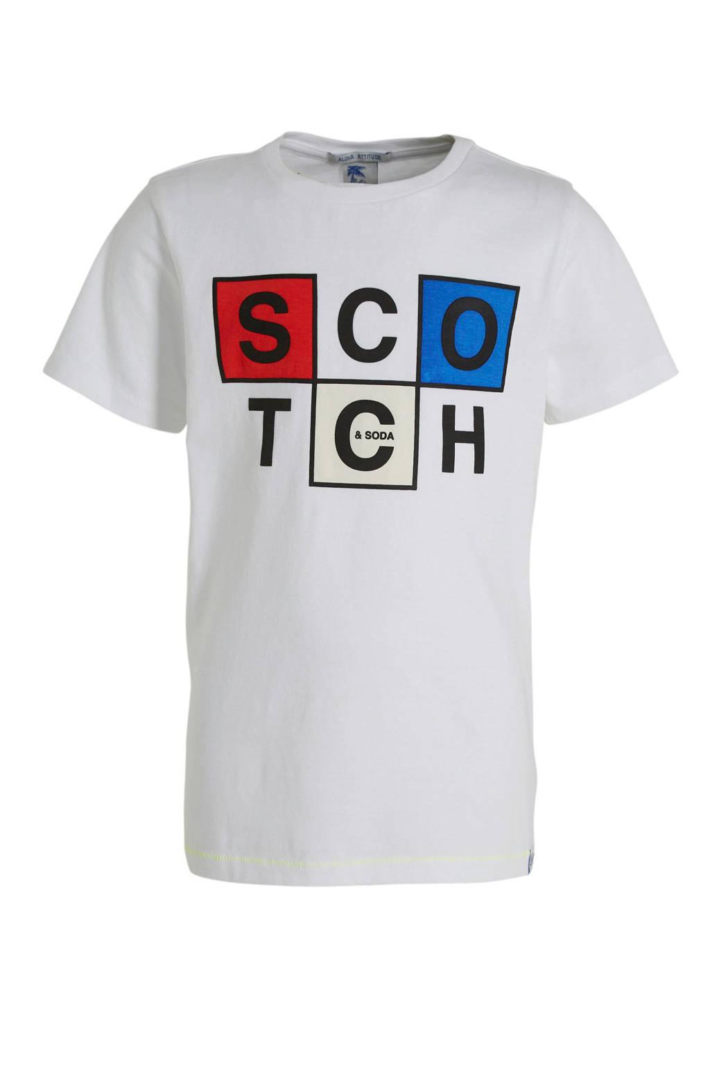 Scotch & Soda T-shirt met printopdruk wit/rood/blauw, Wit/rood/blauw