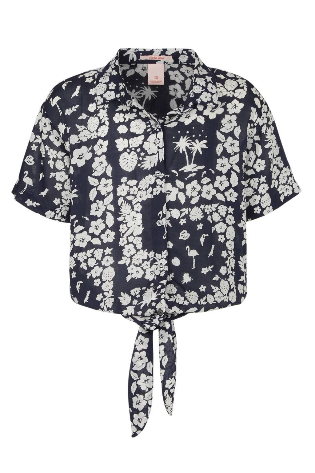 Scotch & Soda blouse met all over print donkerblauw/ecru, Donkerblauw/ecru