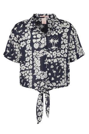 blouse met all over print donkerblauw/ecru