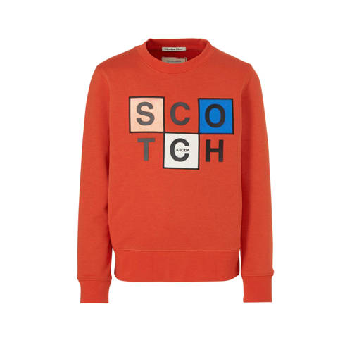 Scotch & Soda sweater met printopdruk brique
