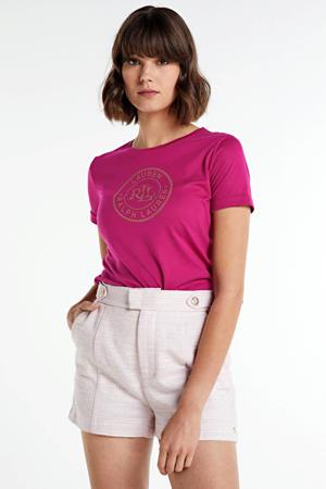 T-shirt met printopdruk fuchsia