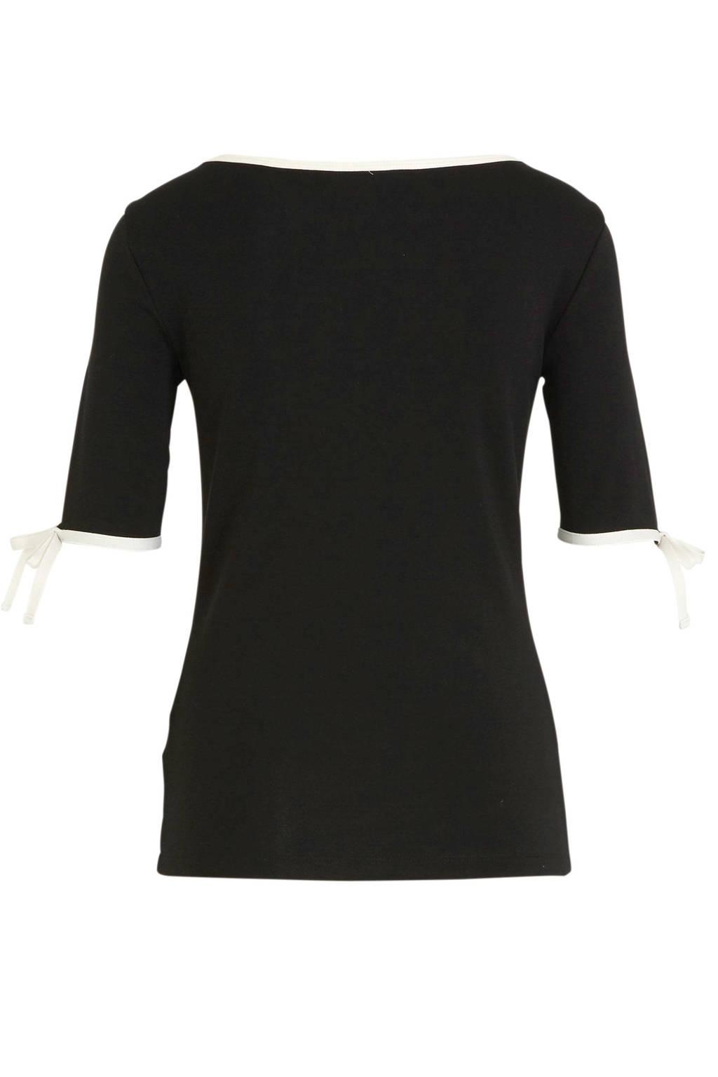 Lauren Ralph Lauren top Aithley met contrastbies zwart, Zwart