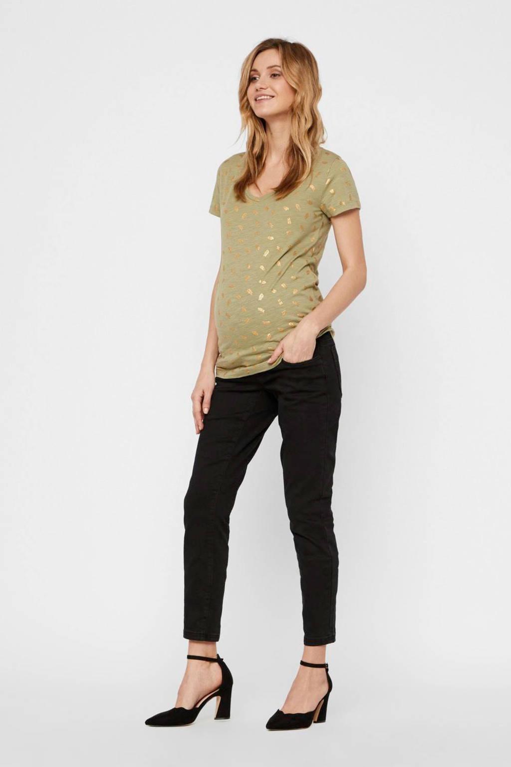 MAMALICIOUS zwangerschapsshirt Martine met all over print olijfgroen/goud