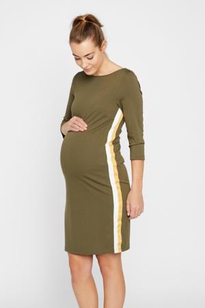 zwangerschapsjurk met contrastbies en ceintuur olijfgroen/ecru/geel