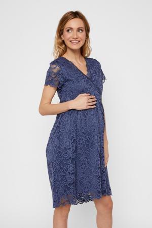 zwangerschaps- en voedingsjurk Mivane met all over print en kant blauw