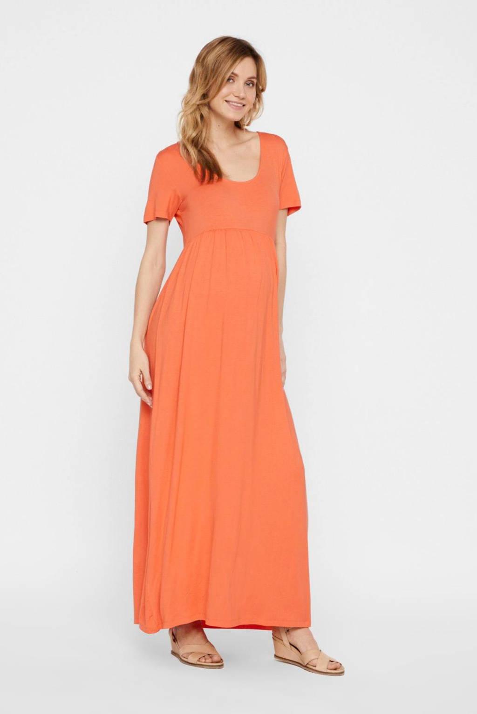 MAMALICIOUS zwangerschapsjurk Tatianna en plooien oranje, Oranje