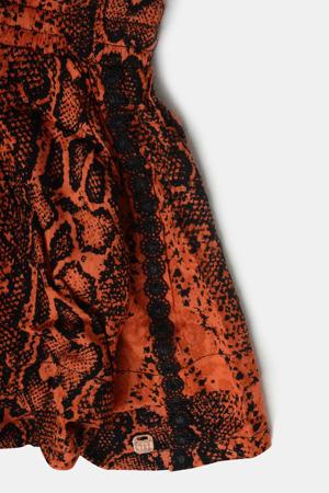 short Hester  met all over print donker oranje/zwart