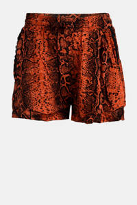 Jill & Mitch by Shoeby short Hester  met all over print donker oranje/zwart, Donker oranje/zwart