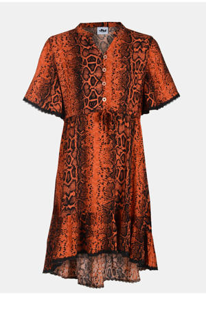 blousejurk met dierenprint en kant donker oranje/zwart