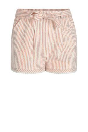 gestreepte short Hanna ecru/roze