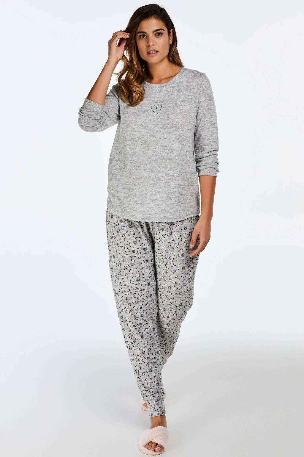 Hunkemöller pyjama met printopdruk grijs, Grijs