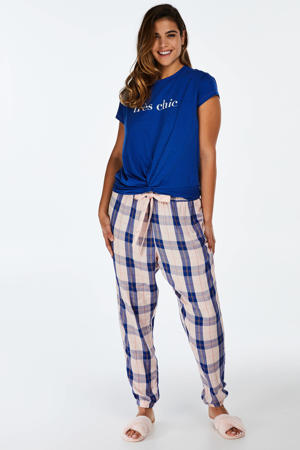 pyjamabroek Check roze