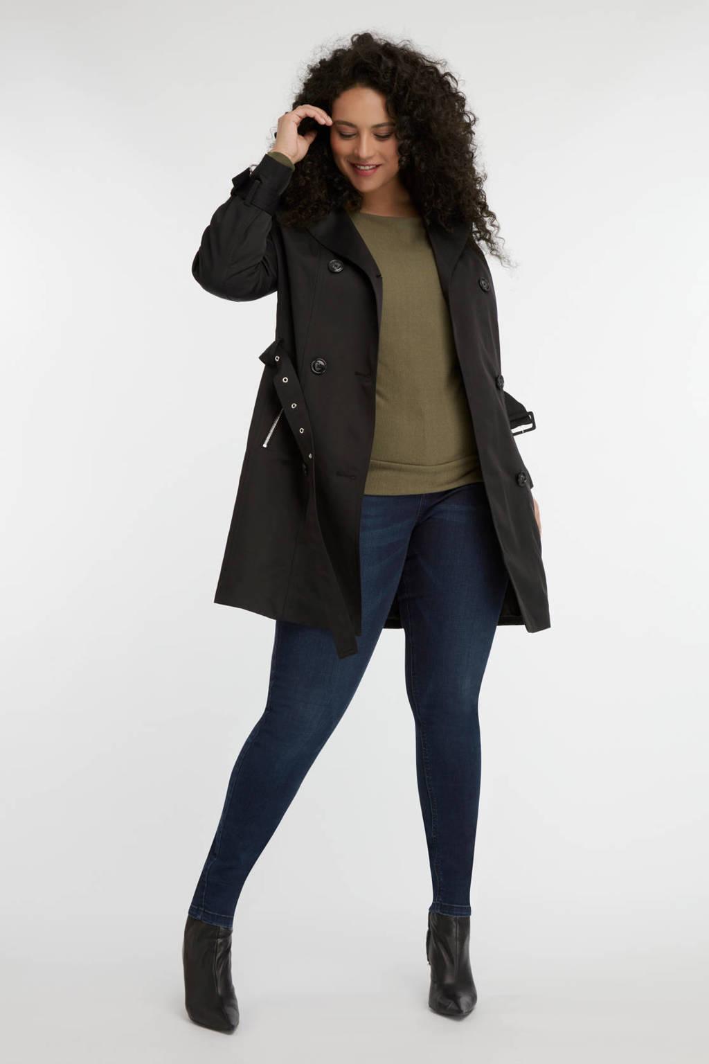 MS Mode trenchcoat met ceintuur zwart, Zwart